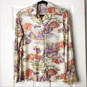 That Girl button up long sleeve printed blouse